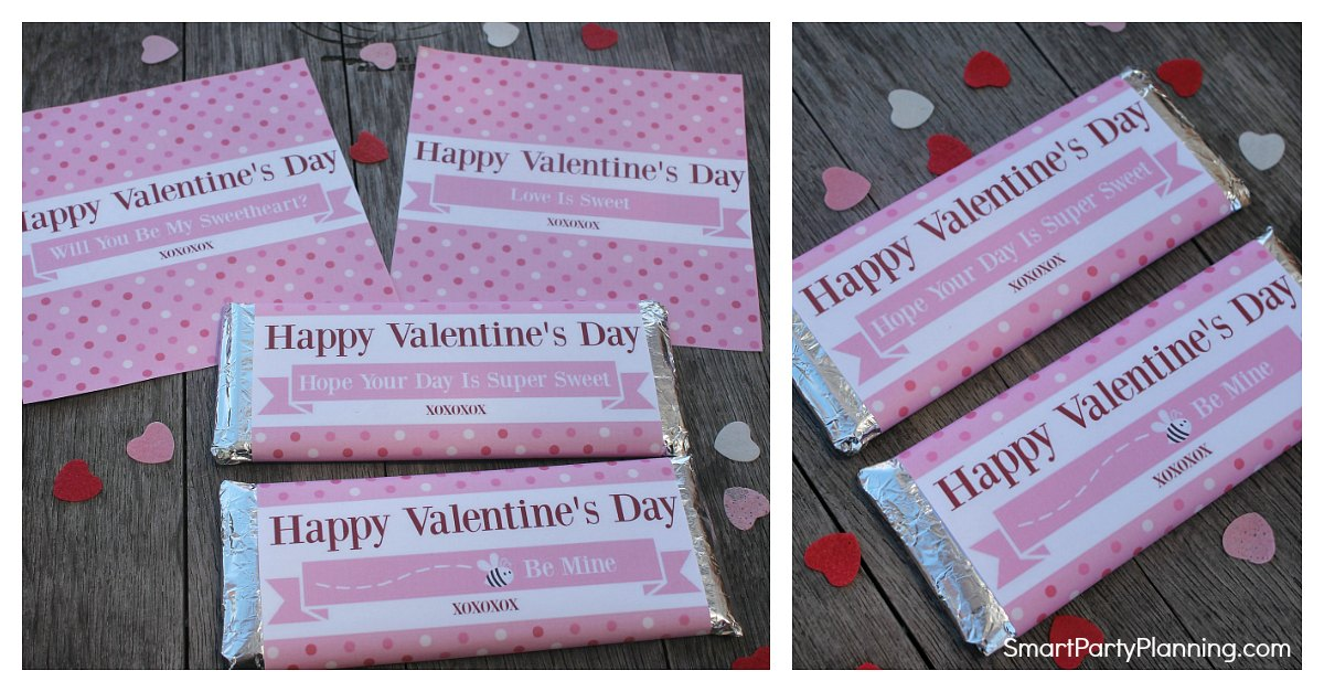 set of 4 Free Valentines Hershey bar wrappers