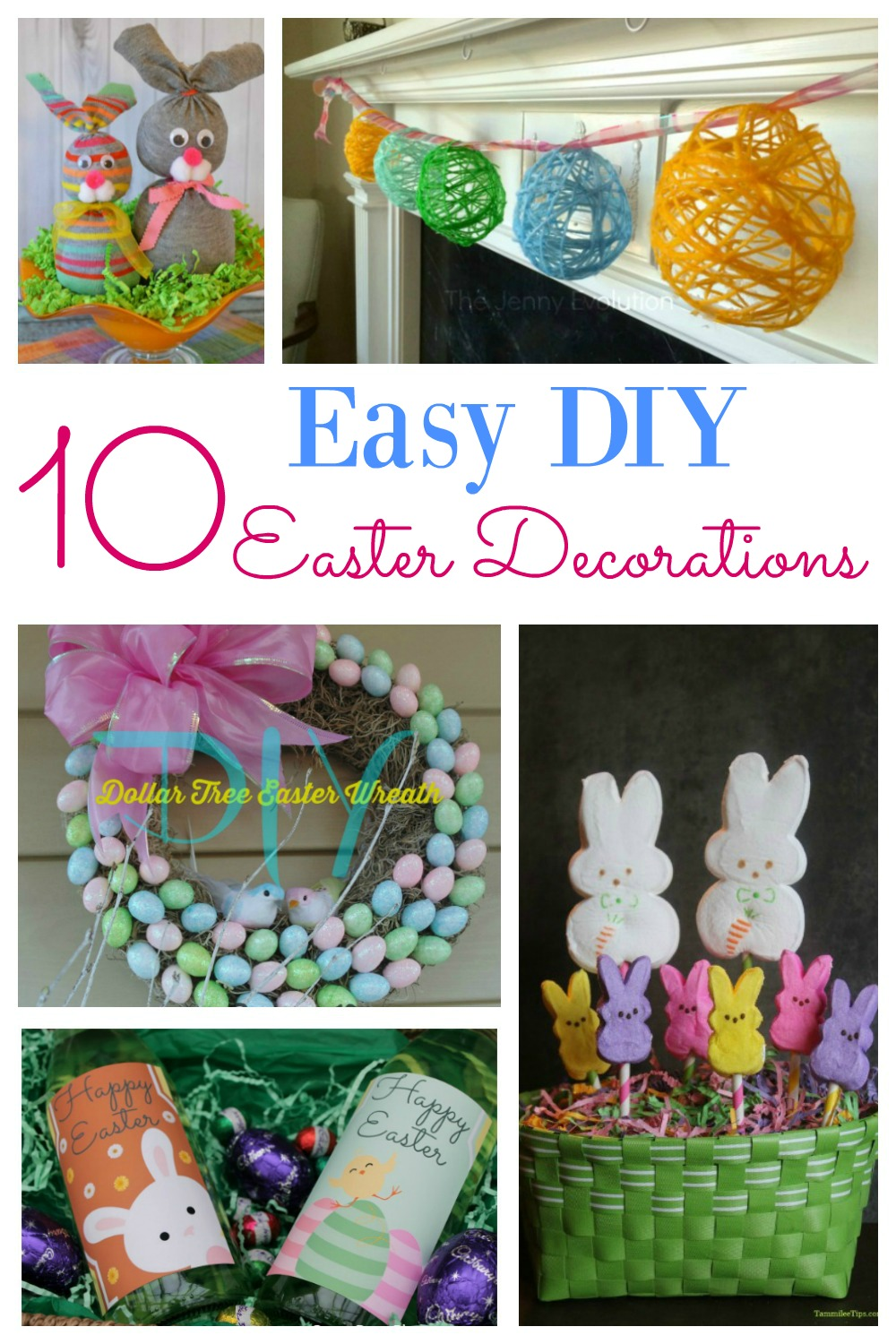 How to make 10 Easy DIY Easter decorations for the home. Including dollar store creations, center pieces, table settings and more. These ideas are simple to replicate and will look beautiful in your home. #Easterdecorations #DIY #Simple #DollarStore