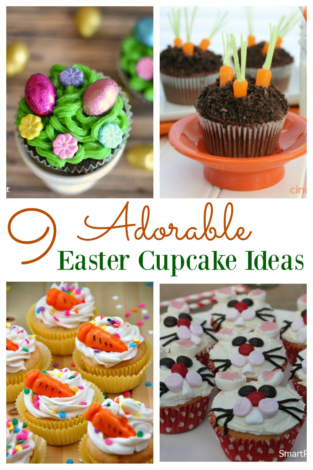 9 adorable easter cupcake ideas for Ideas for thanksgiving cupcake decorations