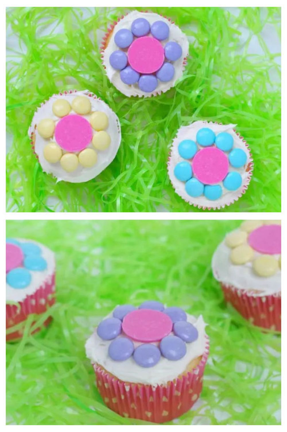 It's time to have some fun in the kitchen with the kids. These easy Spring flower cupcakes can be whipped up in no time at all, and the kids can have a great time designing their flowers. They are also perfect to organize for an Easter celebration.