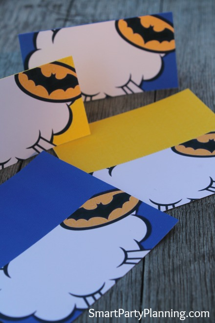 Batman food tent labels