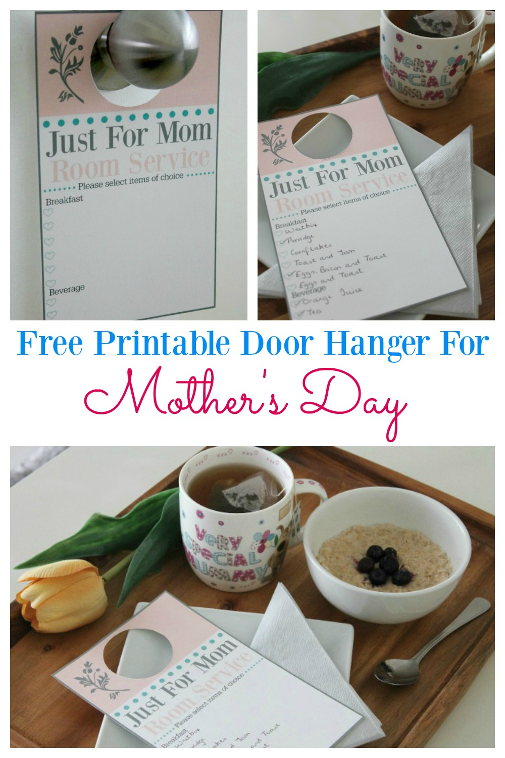 Download a free printable door hanger so you can provide room service to mom on Mother's day. Allow mom to feel pampered by bringing the luxury of staying in a hotel to her own bedroom. Kids will enjoy undertaking this easy gesture and preparing breakfast for mom in the morning. Forget expensive gifts, as this is all mom needs to feel special.