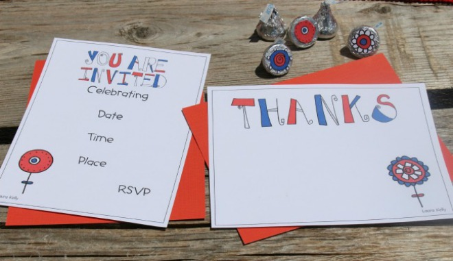 Whether you are planning a memorial celebration or a 4th July party, easy patriotic decorations will be on your hit list. What could be easier than party printable's! The great thing about these printable's that you could use them for a patriotic party or even a birthday party as they contain a funky flower power design. There is even an easy tutorial to make some super fun patriotic cupcakes.