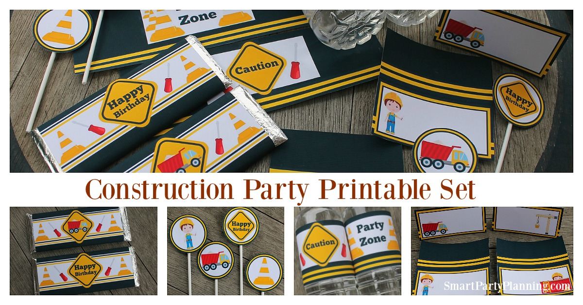 Construction party printable's set for boys