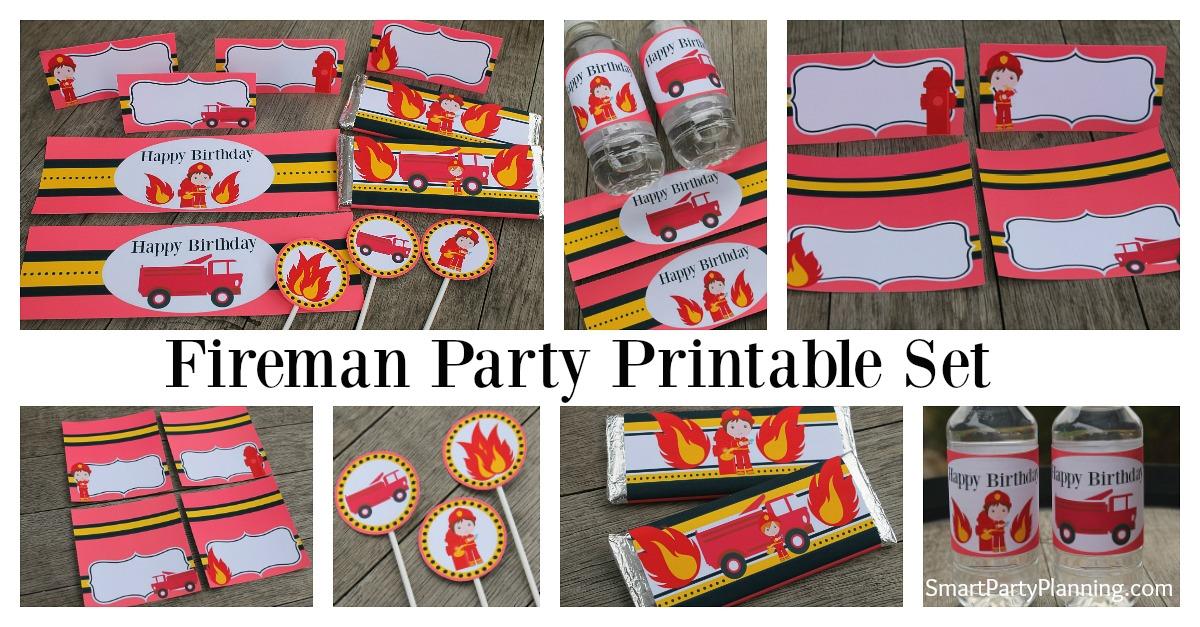 Fireman birthday party printable set