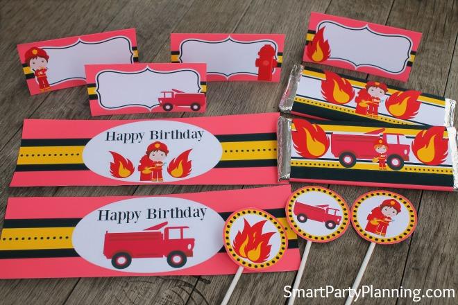 Printable fireman birthday party set