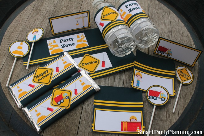set of construction party printables