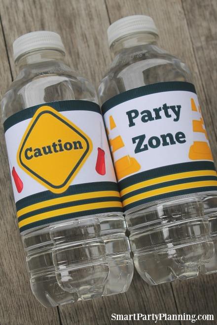 Printable Construction Water Bottle Labels