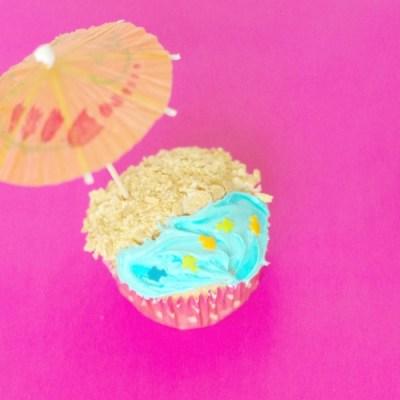 Simple Beach Themed Cupcakes