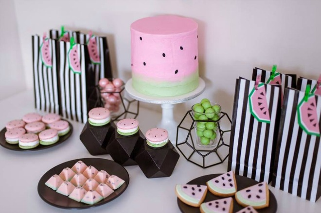 Watermelon party table with desserts