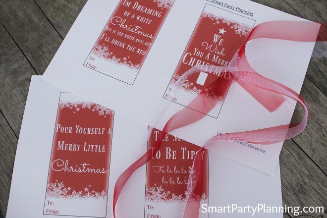 Printed Christmas wine tags