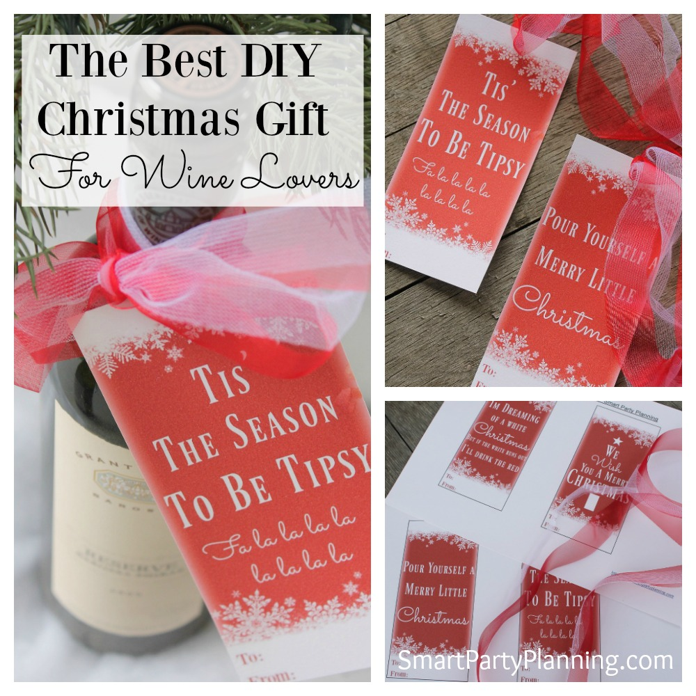 Easy DIY Christmas wine bottle tags. There are four designs to choose from, which attach to the neck of a wine bottle with a festive Christmas ribbon. An instant download printable, which are fun to use and make gift giving easy. Just print, cut and attach. It's super simple.