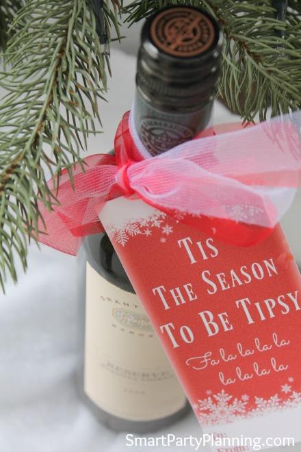 Tipsy wine bottle tags