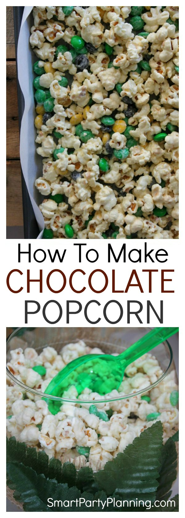 Learn how to make a chocolate popcorn recipe that will be a party favorite. This is one of those recipes that the adults will be fighting the kids over. It's simple and easy to make, tastes amazing and is the perfect finger food at kid's parties or a family movie night It's not healthy, but it is a lot of fun!