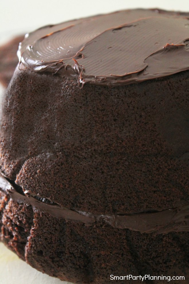 Spread ganache in between the layers