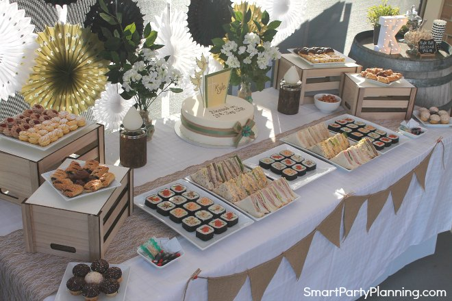 Arial view of rustic food table