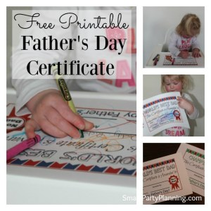 Fathers day printable certificate