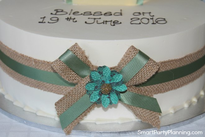 Front of blessing cake