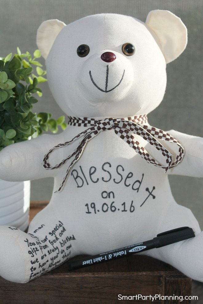 White writing bear
