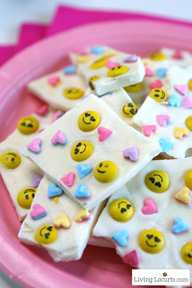 Emoji white chocolate bark