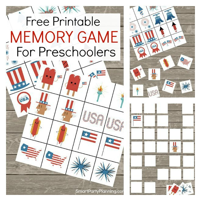 Printable memory game for preschoolers