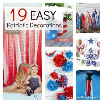 How to make 19 cheap and easy Patriotic decorations. These DIY decorations are perfect for an indoor or outdoor party and can be easily made by the kids. They are perfect for your 4th July celebrations.