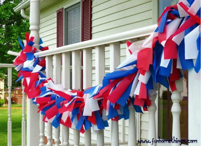 red blue and white Plastic tablecloth garland