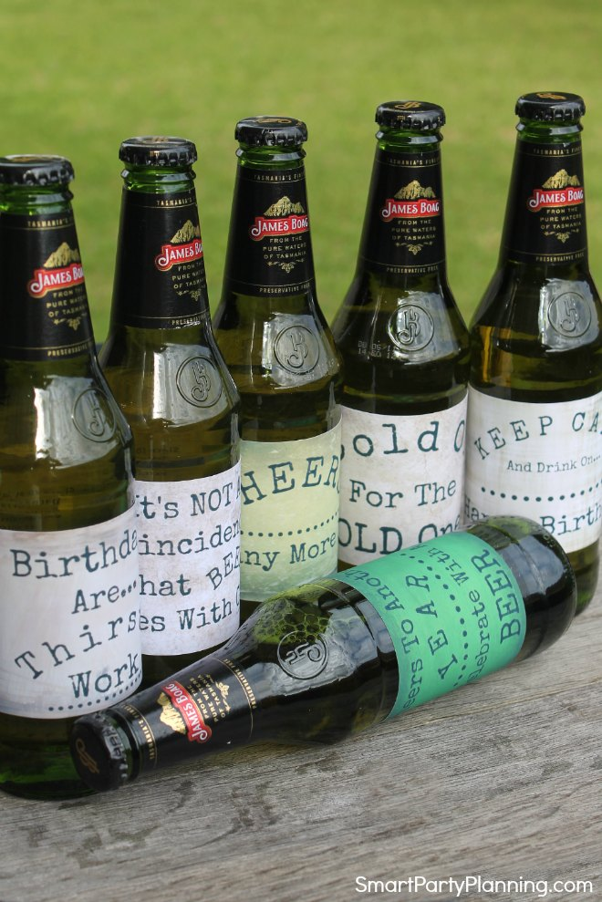 6 Printable Birthday Beer label deisgns
