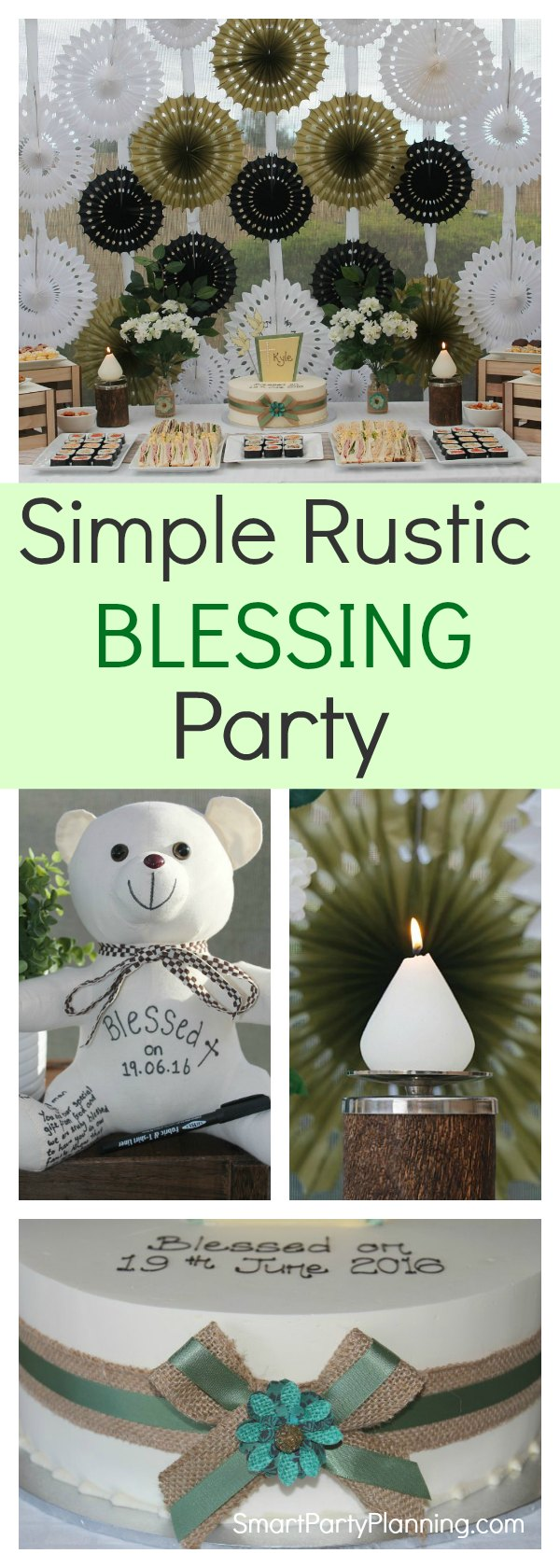 Enjoy a relaxed garden party with a rustic baby blessing or baptism celebration. Suitable for both boys and girls, this earthy theme has beautiful decoration with a calm and relaxed vibe.  Complete the look with easy burlap decorations, candles and simple flowers.
