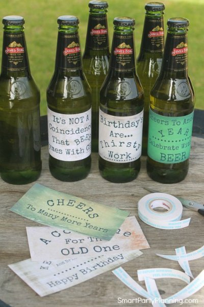 Attach labels to beer bottles
