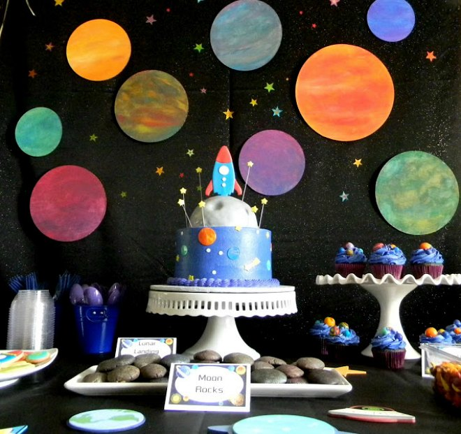 Space party backdrop