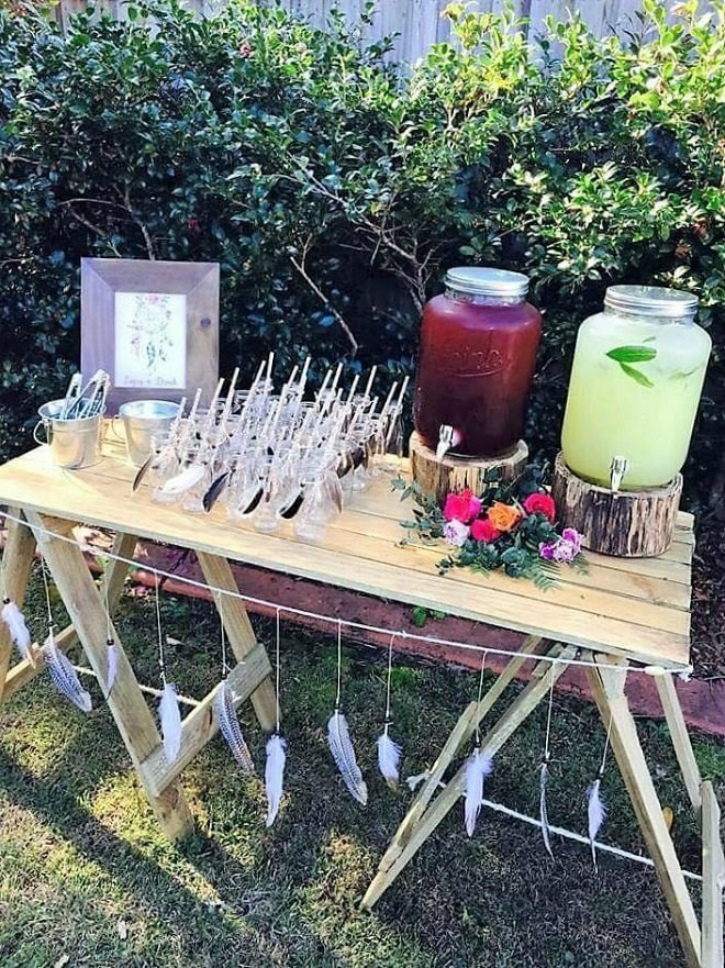 Boho drinks table