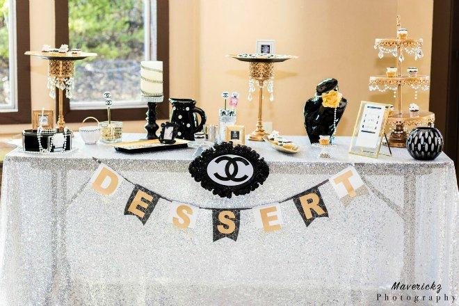 Chanel inspired dessert table