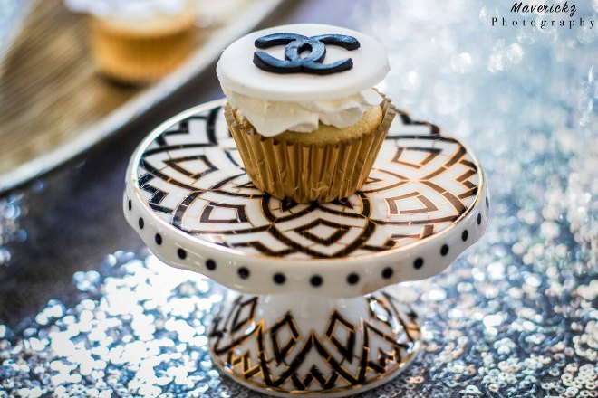 Chanel Cupcake on a stand
