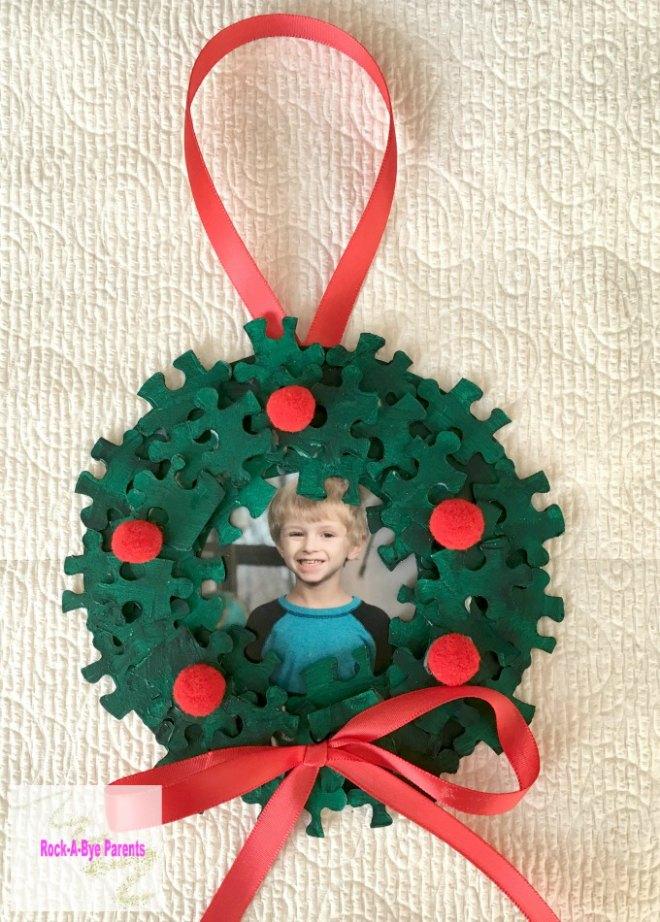 Puzzle wreath ornament