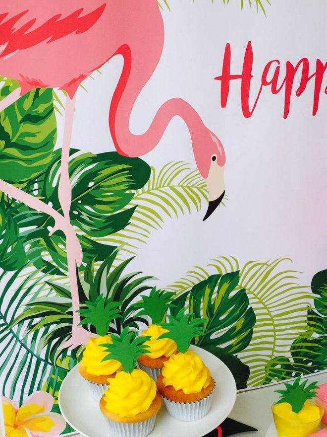 Flamingo Party cupcakes