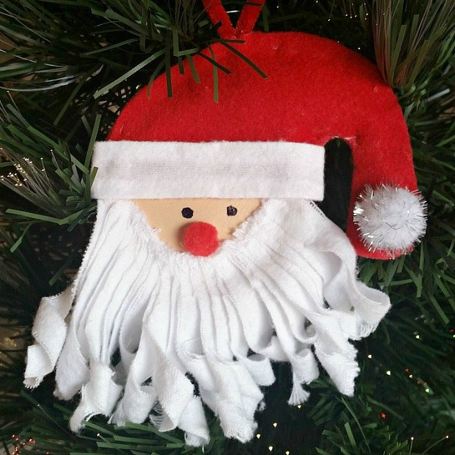 Santa Mason Jar Lid Christmas Tree Ornament