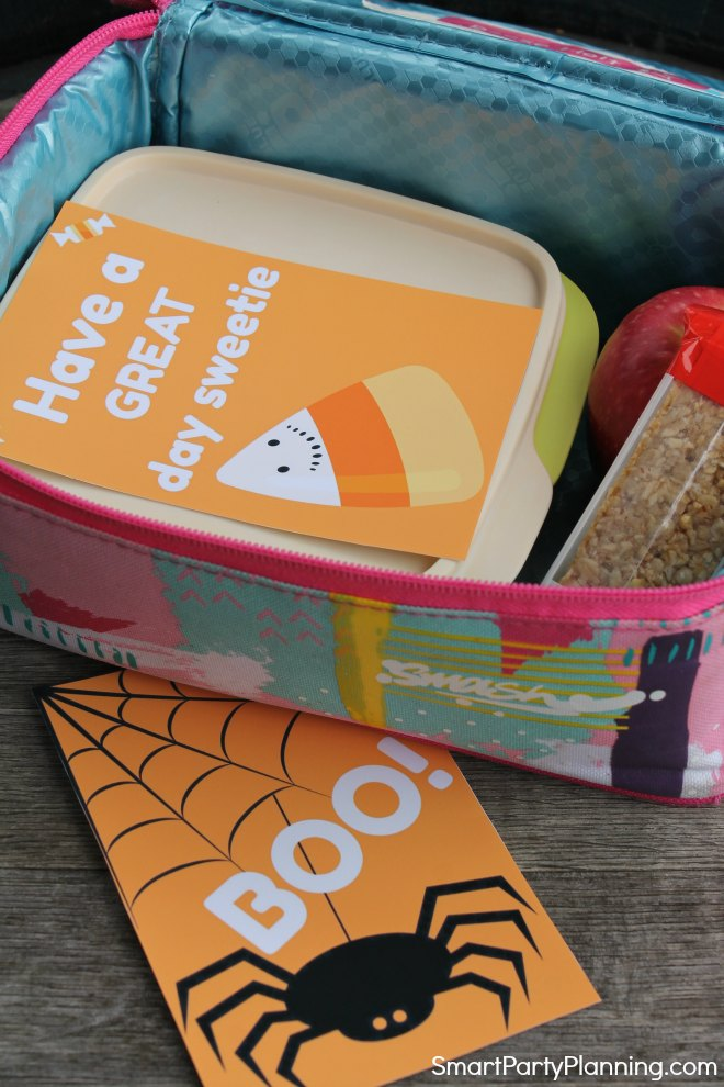 two Halloween lunch box notes