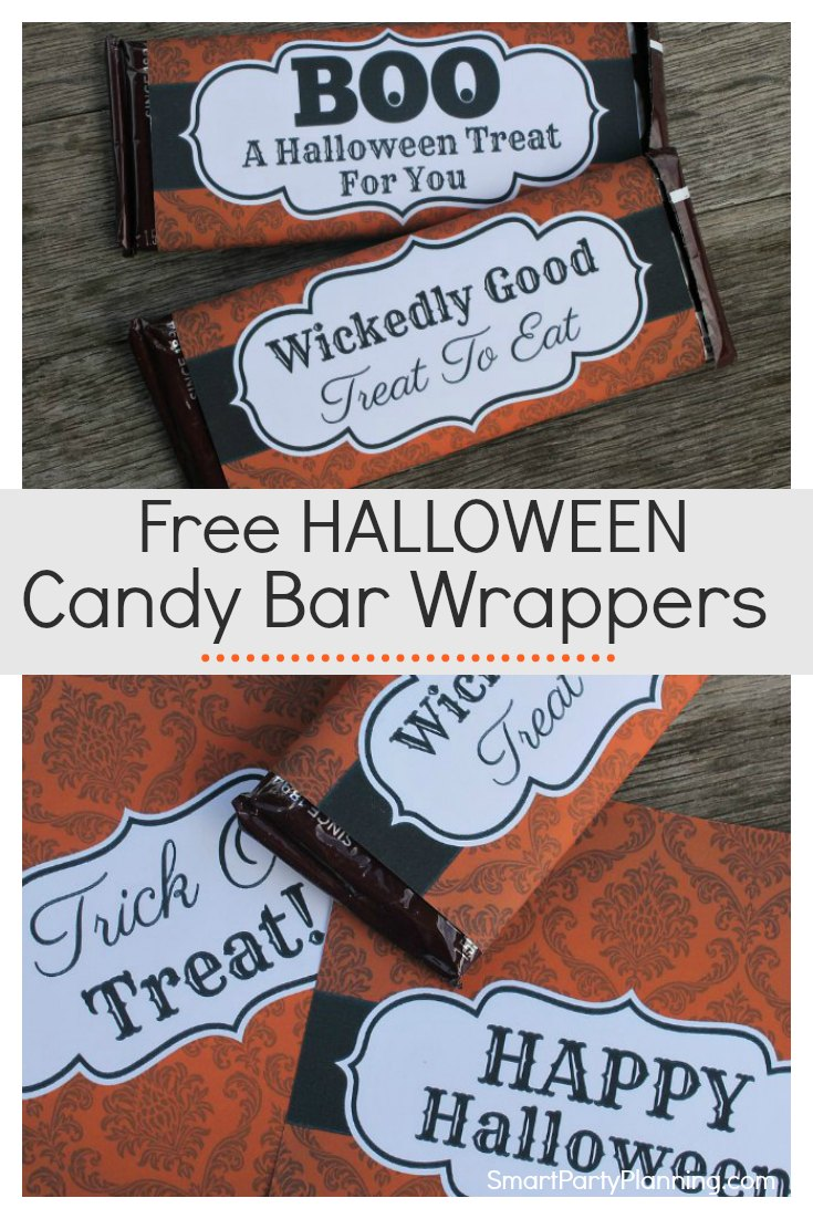 Free printable Halloween candy bar wrappers that are to be a sure huge hit with the young and old.  Use them as party favors, or for trick or treater's Halloween gifts.  There are four fun designs that are available as an instant download. This is the perfect solution to fill up those Halloween treat bags!