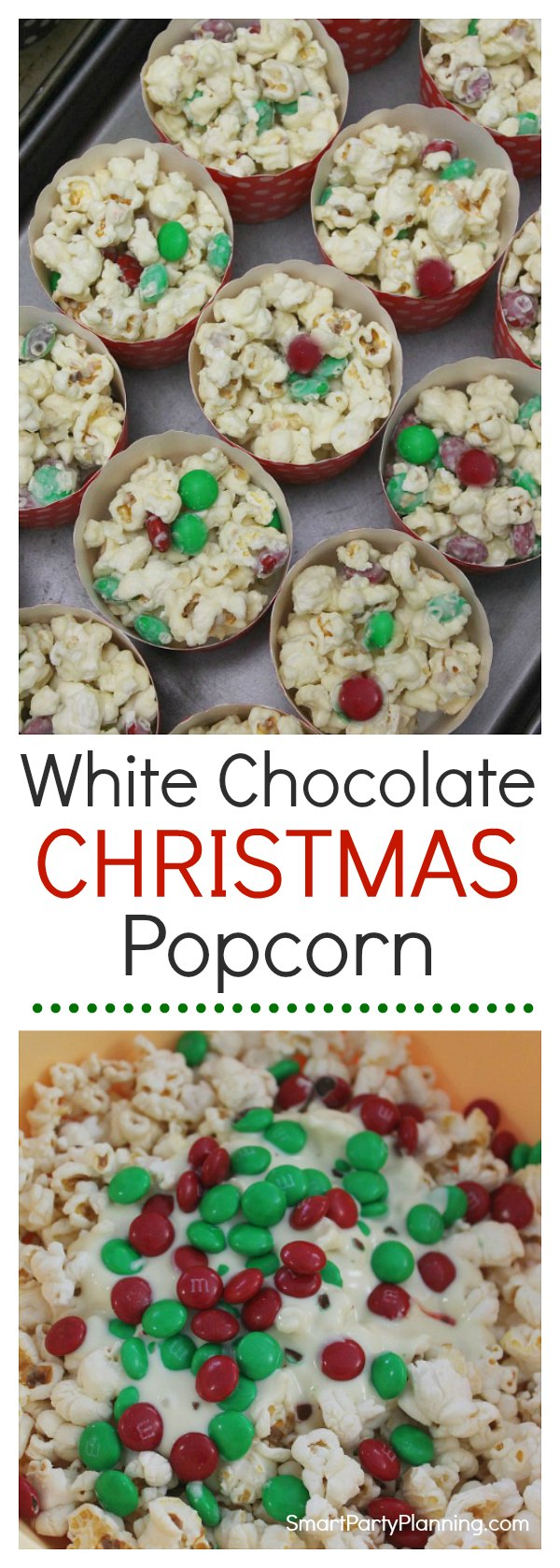 The most amazing white chocolate popcorn recipe that includes M&M's.  This Christmas popcorn is perfect for the holidays with it's red and green M&M's and sweet and salty combination. Need a treat for a different holiday?  Simply switch the M&M chocolate colors to suit any other occasion. It's a super easy treat to make that guests will love to enjoy at parties or movie nights.