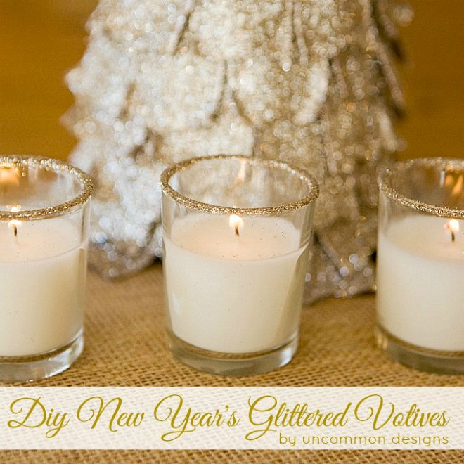 glitter new years votives