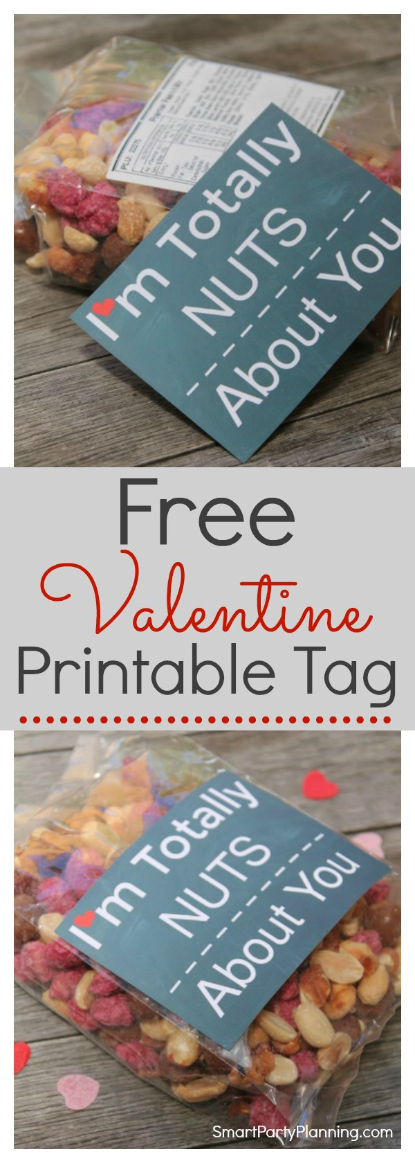 A free Valentine printable that makes the perfect gift.  The Nuts About You printable tag is great for someone who has it all. Available as an instant download, preparing your Valentine's gift this year couldn't be easier.