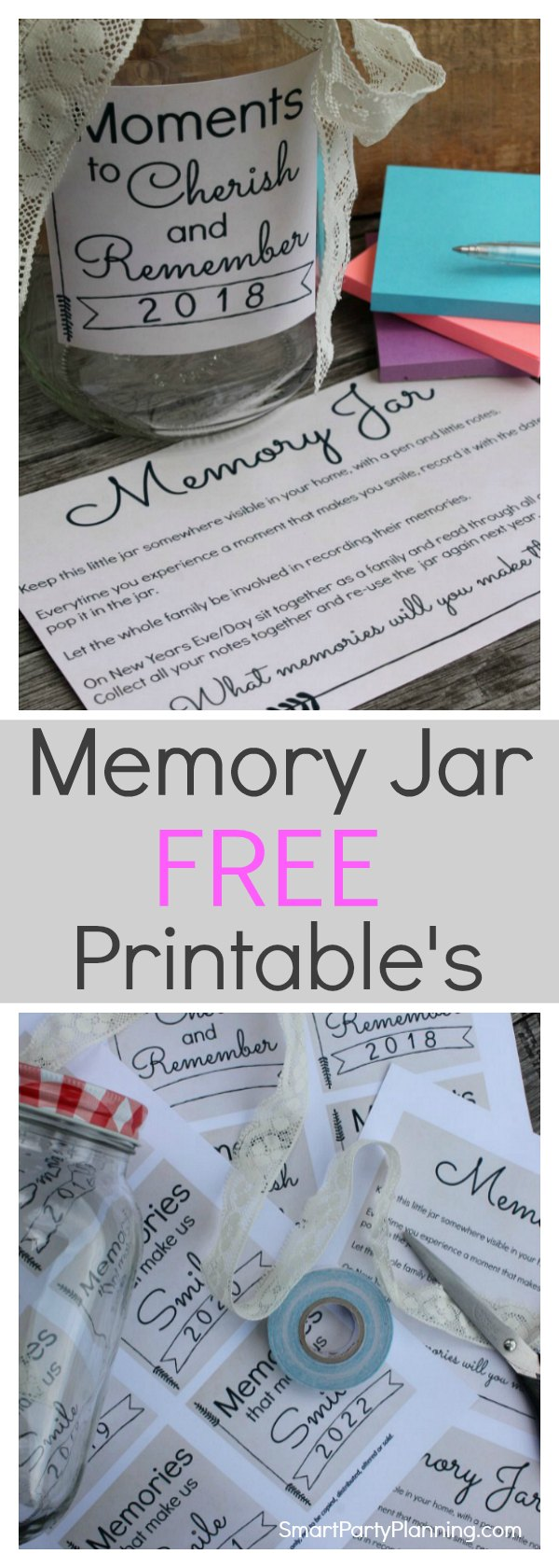 Learn how to make a memory jar as a great alternative to writing a journal. Free printable's are available to make this an easy DIY. A memory jar is the best way to capture the moments taken place during the year which can easily be forgotten. A memory jar printable is available from 2018-2022, plus an instruction sheet. Click to get the free printable's in two designs. #Memoryjar #Freeprintable #gift #Printable
