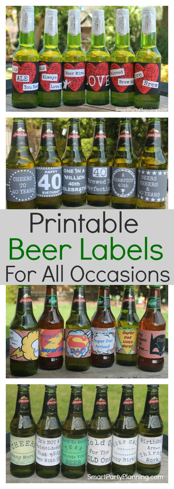 Printable beer labels for all occasions. They are great for gifts and parties.  Perfect for the beer lovers and so simple to do.  Available as an instant download for immediate printing. #Beergift #BeerPrintable #Printable #Instanddownload