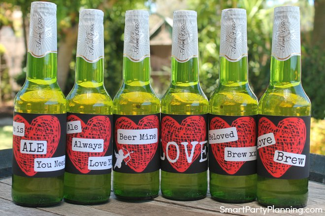 Chunky heart Valentines Day Beer Labels