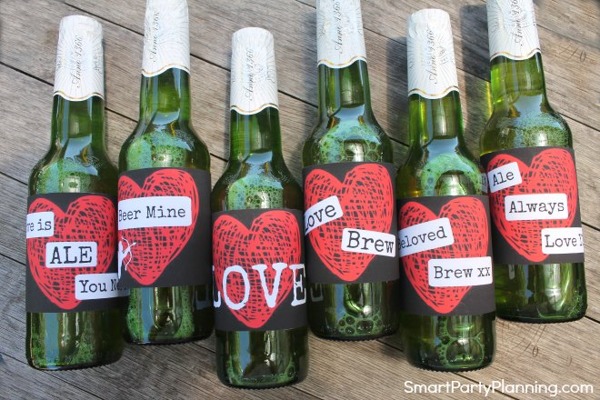 Set of 6 heart valentine beer labels for men