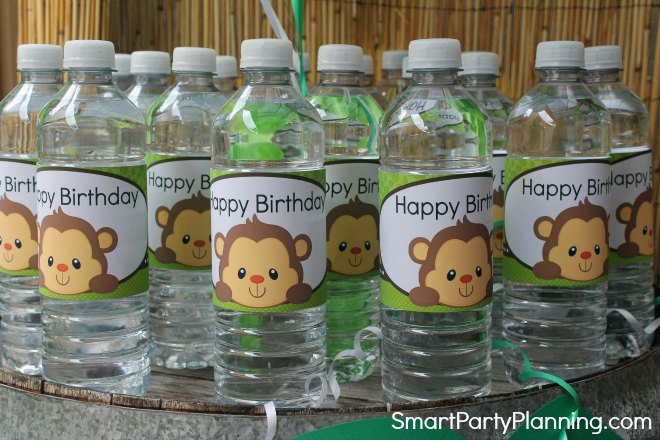 monkey water bottle label designs