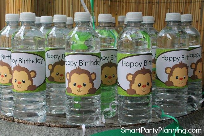 monkey water bottle label designs