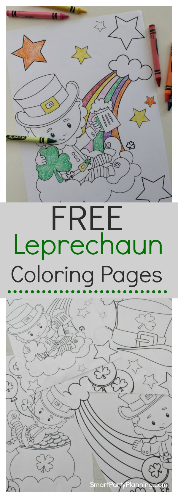 Four fun Leprechaun coloring pages that you can download instantly for FREE. Choose all the designs or just your favorite. This is one of those activities that will keep them entertained for hours of fun. #StPatricksDay #LeprechaunColoringPages #Printable #Fun #Kids