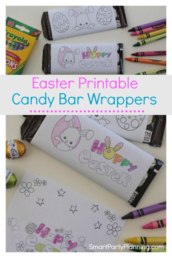 Free printable candy bar wrappers especially for Easter.  Kids will love that they can color in their own wrapper to personalize it just how they like it to be. This can be used as a gift from the Easter bunny, a party favor or for some fun at the dinner table.  With an instant download you don't want to miss this. #Printablecandybarwrappers #Free #Instantdownload #Easter #For Kids